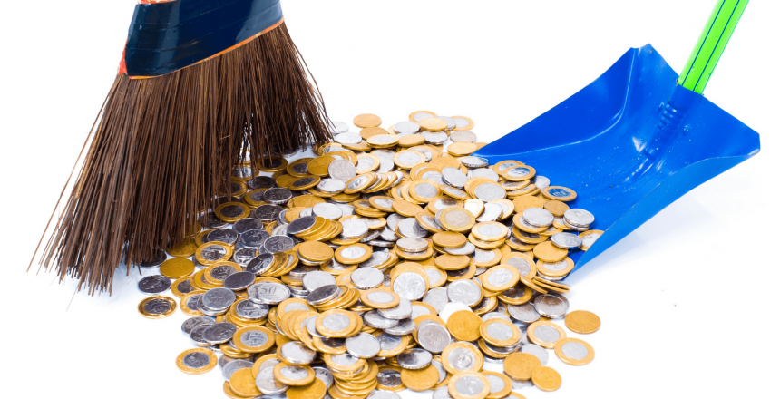 clean up with a broom and dust pan sweeping up money
